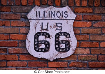 Historic Route 66 sign.