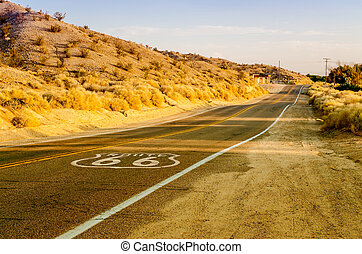 Historic Route 66 with Pavement Sign in California