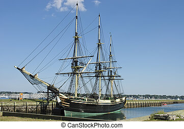 Historic ship named Three-masted Friendship anchored in...