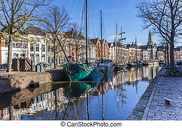Historic ships in the Hoge der aa canal of Groningen, The Netherlands