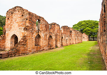 The ancient buildings which aged over 300 years are a part of King Narai palace historic site in Lopburi province, Thailand.