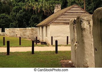 Historic Slave Cabins at the Kingsley Plantation in...