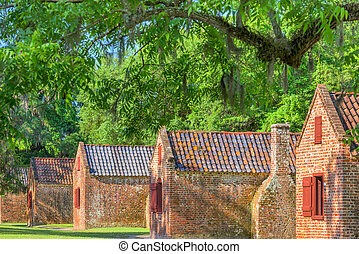 Preserved plantation slave homes in Charleston, South Carolina, USA.