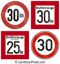 Historic Speed Limit Signs In Germany