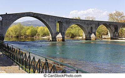 Historic stone bridge of Arta at Greece