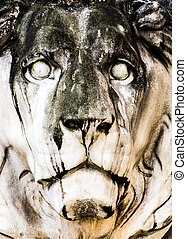 Historic stone lion sculpture