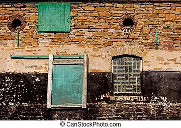 Historic stone wall - Rough stone wall of historic barn...