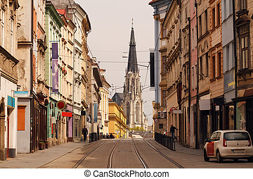 Historic street in the centre of Olomouc