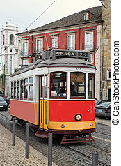 Historic streetcar in Alfama Lisbon - Historic number 28 red...