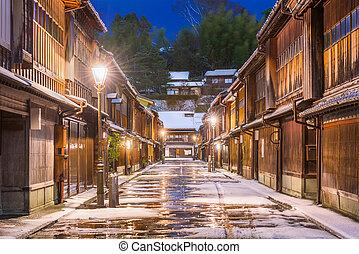Kanazawa, Japan at the historic Higashi Chaya District in the winter.