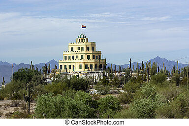 Cararro Cactus Gardens at Tovrea Castle as seen from Loop-202; East-Central Phoenix, Arizona