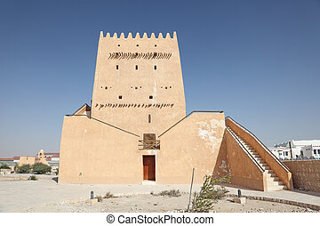 Historic tower in Doha, Qatar, Middle East