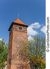 Historic tower in the old town of Luneburg