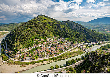 Historic town, Berat, Albania, high view landscape