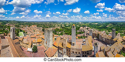 Historic town of San Gimignano with tuscan countryside, Tuscany, Italy