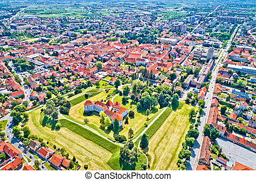 Historic town of Varazdin aerial view, northern Croatia