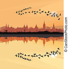 Historic towns and migrating geese