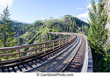 Historic Trestle at Myra Canyon Provincial Park, Canada -...