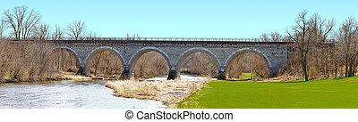 Historic Union Pacific railroad stone arch bridge