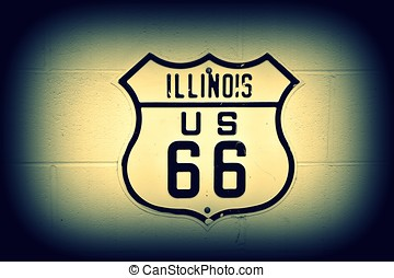 Route 66 sign in Illinois.