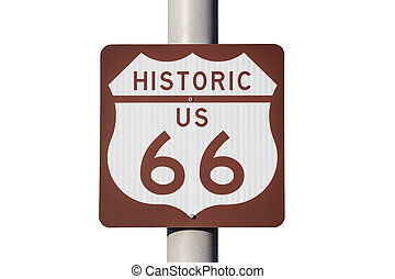 Historic US Route 66 Highway Sign Isoalted on White