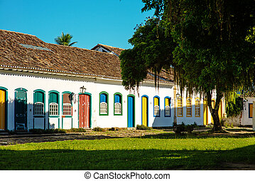 Historic village of Paraty, Brazil - Colorful doors in...