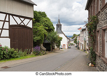 Historic village Starkenburg along the river  Moselle in Germany