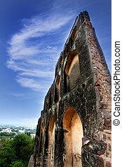 Historic wall in the Golkonda fort in India
