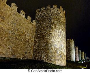 Historic walls of Avila at night, Castilla y Leon, Spain