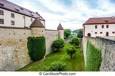 Historic walls of famous fortress Marienberg in Wurzburg, Bavaria, Germany