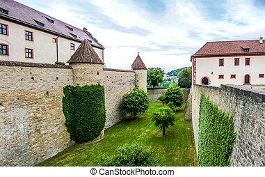 Historic walls of famous fortress Marienberg in Wurzburg, Bavaria, Germany