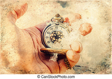 Historic watch in hand, old photo effect. - Historic watch ...