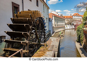 Historic water mill on Kampa Island in Prague, Czech...