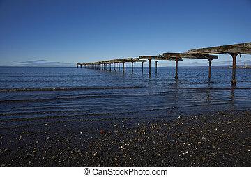 Historic waterfront of Punta Arenas running along the...