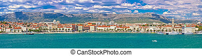Historic waterfront of Split colorful panorama