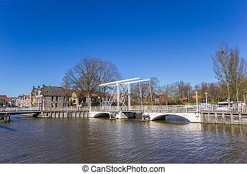 Historic white bridge in the center of Harlingen