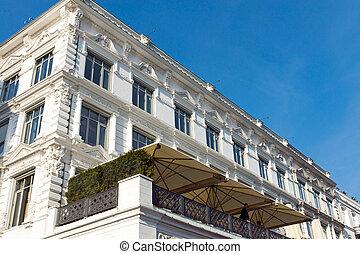 Historic white building in Hamburg