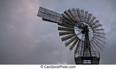 Historic windmill - Time lapse vintage wind turbine and...