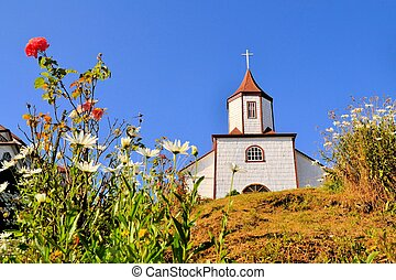 Historic wooden church, built by Jesuit, Chiloe, Chile