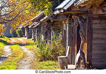 Historic wooden cottages street Ilica, Prigorje region of...