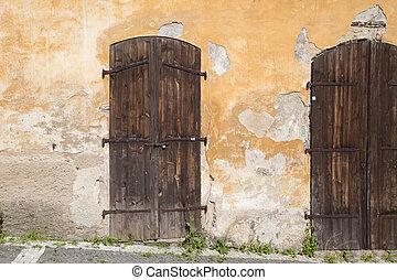 Historic wooden door in Prague