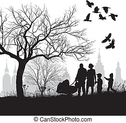 historica, avant, famille, promenade