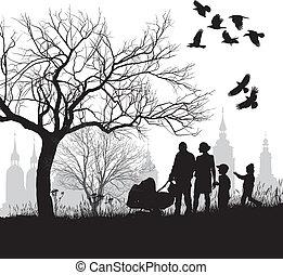 historica, przed, rodzina, chód