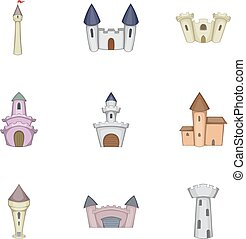 Historical ancient castle icons set, cartoon style