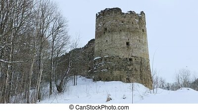 Historical and old stone fortress in winter. Koporskaya...