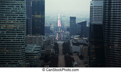 Historical axis (axe historique), passing from center Paris to west, another name - Triumphant path (voie triomphale). Top view with Great Arch of La D?fense