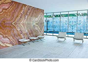 historical Barcelona Pavilion by Ludwig Mies van der Rohe, for the 1929 International Exposition in Barcelona, Spain.