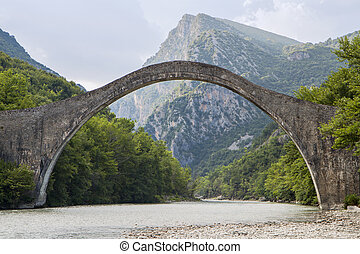 Historical bridge at Epiros, Greece - Historical stone...