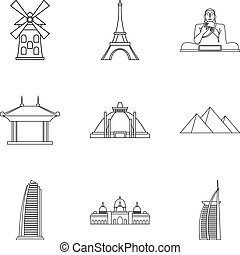 Historical building icons set, outline style