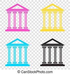 Historical building illustration. CMYK icons on transparent back